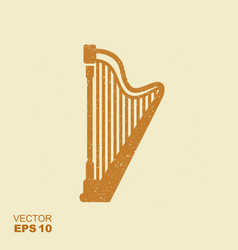 harp icon with scuffed effect vector image