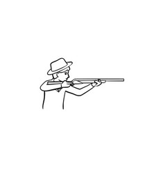 hunter hand drawn sketch icon vector image