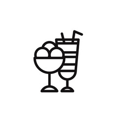 ice cream and cocktail icon vector image