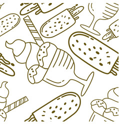 ice cream pattern seamless template vector image