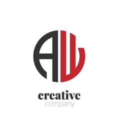initial letter aw creative elegant circle logo vector image