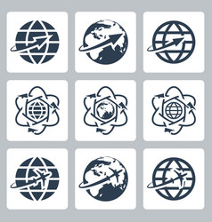 isolated globe with a plane or an arrow icons set vector image