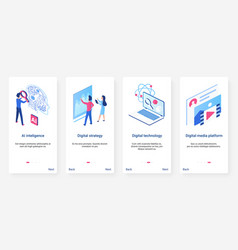 Isometric artificial intelligence concept ux ui vector