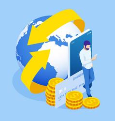 Isometric technology online banking money transfer vector