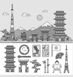 japan symbols and japan sights against the vector image