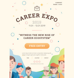 Job and career expo with avatar poster layout vector