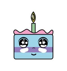 Kawaii cute happy cake dessert vector