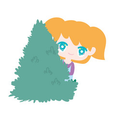 Kids little girl anime cartoon behind bush vector
