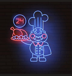 master chef neon sign bright signboard cook logo vector image