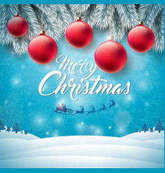 merry christmas with flying santa vector image