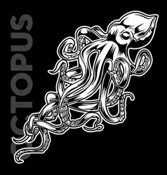 octopus drawing on black background vector image