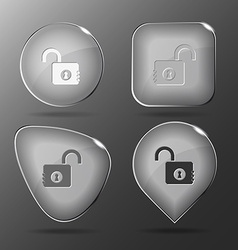 Opened lock Glass buttons vector image