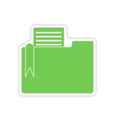 Paper sticker on white background documents folder vector