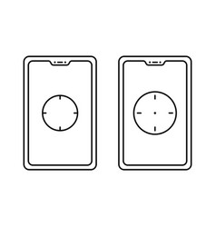 Phone with focal point or focus icon design vector