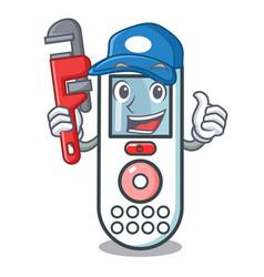 Plumber remote control mascot cartoon vector