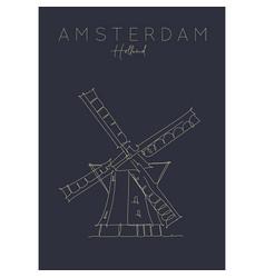 poster holland windmill dark vector image