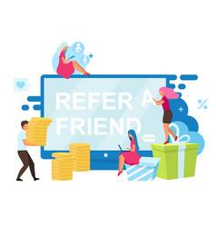 Refer a friend bonuses flat customer attraction vector