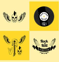 Rock n roll forever skull vector
