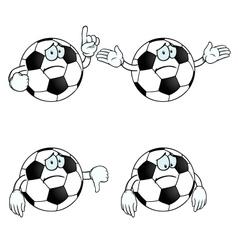 Sad cartoon football set vector image