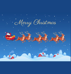 santa claus and reindeers santa flying over vector image