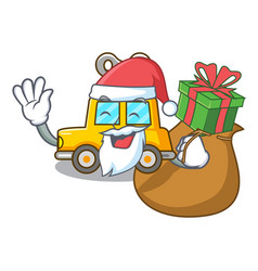 Santa with gift clockwork toy car isolated on vector