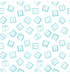 seamless pattern with blue outline book vector image
