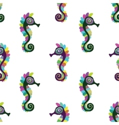 seamless pattern with seahorse vector image