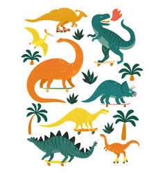 Set dinosaurs including t-rex brontosaurus vector