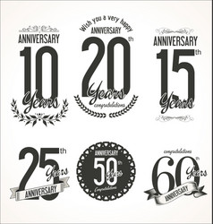 set of anniversary signs vector image