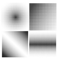 Set of halftone backgrounds black color vector