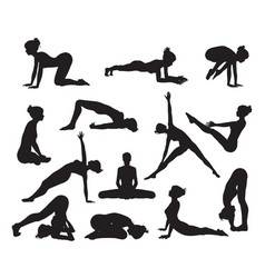 Silhouette yoga poses vector
