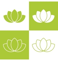 Simple green lotus plant set vector image