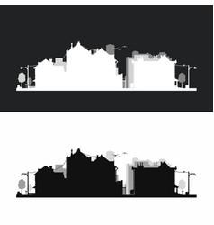 Small city neighborhood silhouette style in set vector