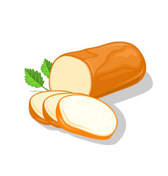 Smoked round cheese cutted to slices garnish vector