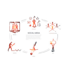 social media friends content blog search like vector image
