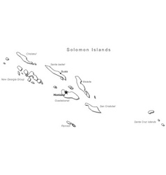 Solomon Islands Black White Map With Major Cities vector image