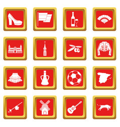 spain travel icons set red vector image