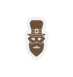 stylish paper sticker on white background man hat vector image