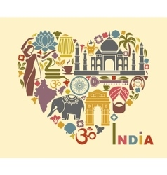 Symbols of India in the form of heart vector image