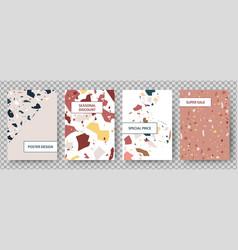 terrazzo poster broken tiles abstract art vector image