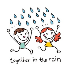 Together in rain vector