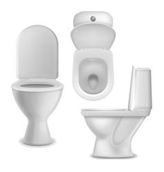 Toilet bowl realistic clean lavatory bathroom vector