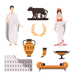 Traditional cultural symbols of ancient rome set vector