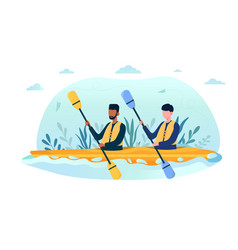 Two multiracial friends in yellow life vest going vector