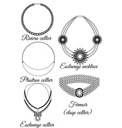 Types of necklaces in appearance outline vector