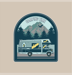 Vintage badge with old family camper vector