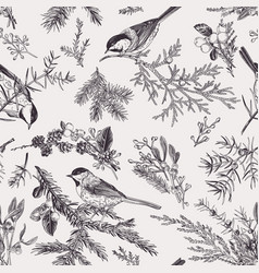 Vintage seamless pattern with birds vector