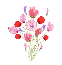 Watercolor Bouquet of tulips in Pink vector image