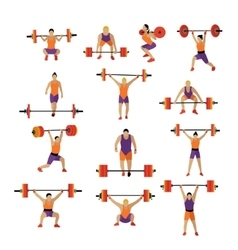 Weightlifting and workout exercise in gym vector