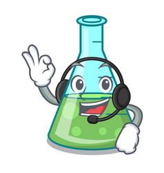 With headphone science beaker mascot cartoon vector
